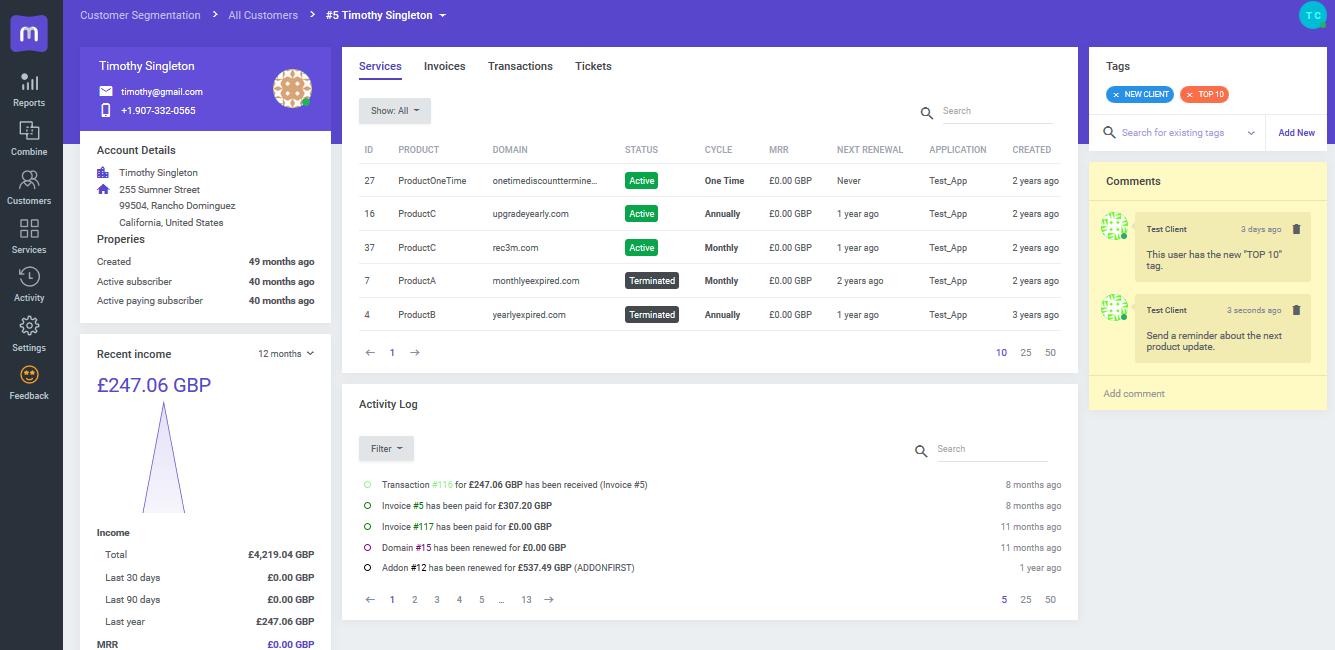 Client Profile Overview - MetricsCube