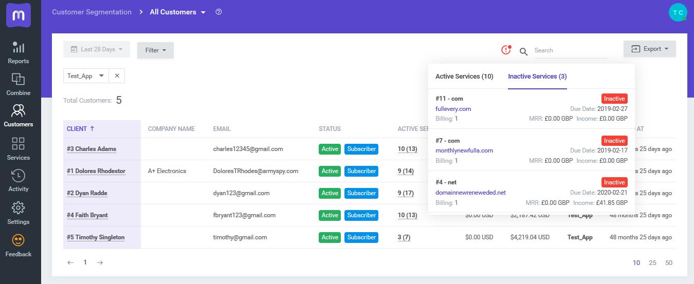 Service Details Tooltip - MetricsCube